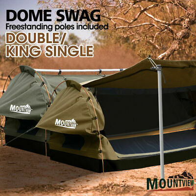 MOUNTVIEW Double King Single Camping Swags Canvas Free Standing Dome Tents Kings