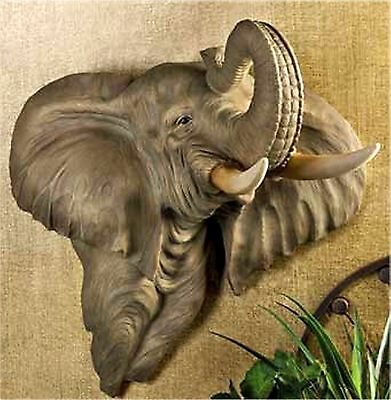"Realistic Striking Mischievous ** 24"" SCULPTED ELEPHANT WALL DECORATION ** NIB"