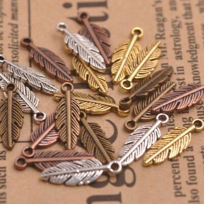 50PCS Antique Silver/Gold/Bronze Feather Leaves Charm Pensant Finding 15MM A3158