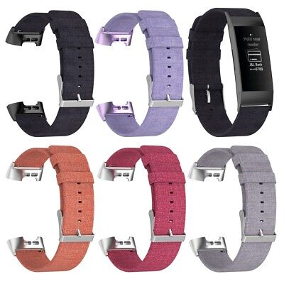 Breathable Canvas Watch Band for Fitbit Charge 3 with Stainless Steel Connector