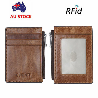 Mens RFID Blocking Leather Wallet Slim Credit Card Zipper Coin Holder Money Clip