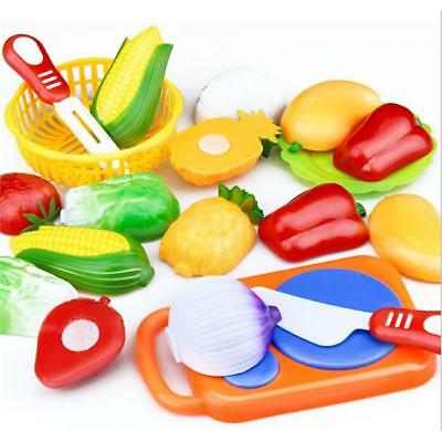 Play Food For Kid Children Plastic Vegetable Fruit Toy Kitchen Cutting Set T