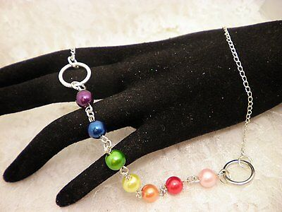 """Handmade LGBT Gay Pride RAINBOW Glass Pearled Chain Necklace 18"""" Long/Jewelry"""