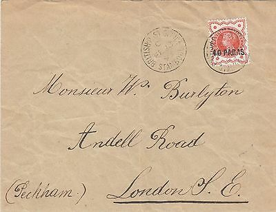 British Levant 1893 Cover  40 Paras With Broken S Variety On Cover Sg.7=Scott 6
