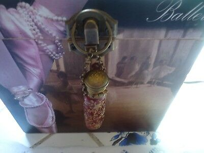 Antique Chatelaine Red Pink Gold Floral Glass Hanging Perfume Scent bottle