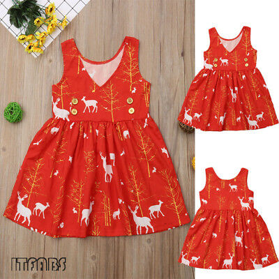 AU Christmas Baby Girl Toddler Kids Lace Romper Dress Party Dresses Costume