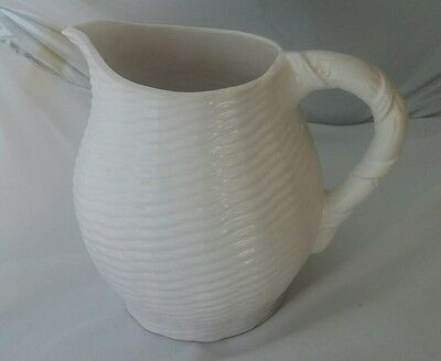 Vintage Pottery Jug Creamy White with Basket Weave