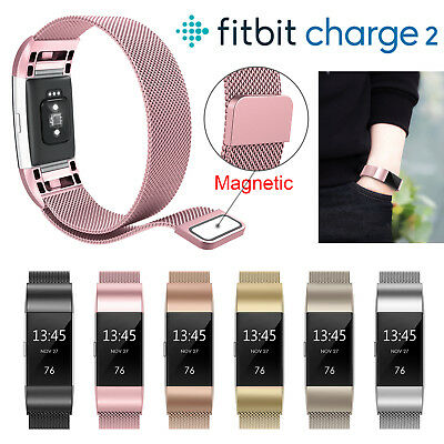 UK For Fitbit Charge 2 Strap Replacement Milanese Band Stainless Steel Magnet