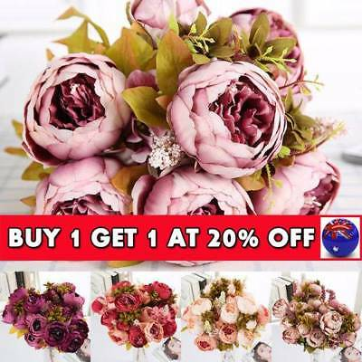 13 Heads Silk Peony Artificial Flowers Peony Wedding Bouquet Home Party Décor GN