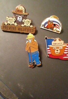 Smokey Bear Pins . All Four  Pins Comes In  This Listing. One Price .free Ship.