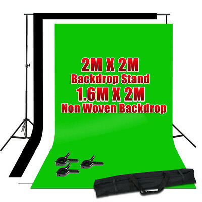 ChromaKey Green Screen Black White Backdrop Background stand Kit Photography Set