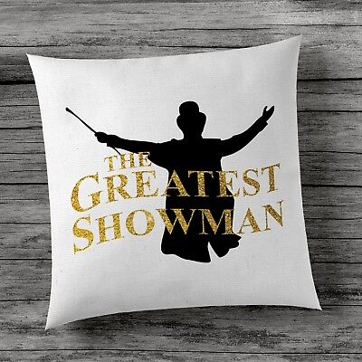 The Greatest Showman Hugh Jackman Cushion Cover - Black White With Gold Writing