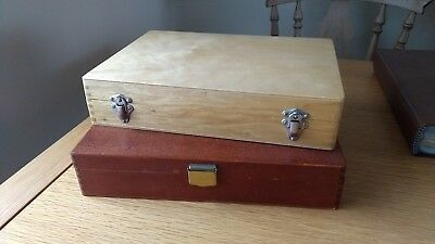 2 VINTAGE WOODEN PHOTOGRAPHIC SLIDE STORAGE CASES each case holds 175 35mm slide