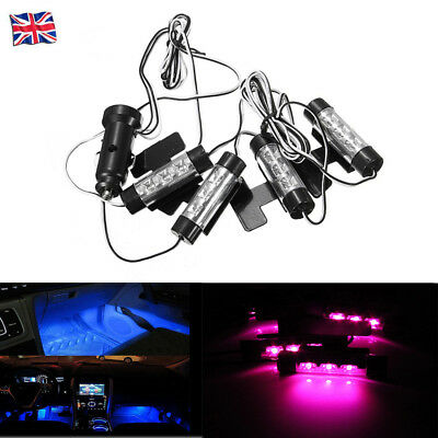 4 LED Car Interior Charge Accessories Floor Decorative Atmosphere Lamp Light