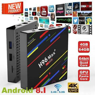 Smart TV BOX H96 MAX+ Android 8.1 Mini PC Quad Core WiFi 4Gb 32/64GB 4K 1080P