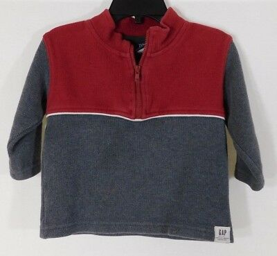 Boy's baby GAP Size 18 – 24 Months Red & Gray Long Sleeve Pullover Shirt ~ Great