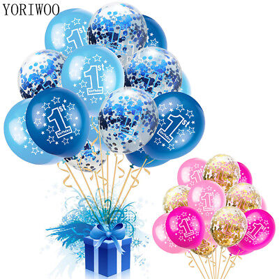 16x Latex Balloon Set Foil Happy Age 1st Birthday Baby Shower First Party Decor
