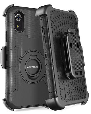 For iPhone XR Holster 4 Layers Hard Case Cover W/ Kickstand and Belt Clip Black