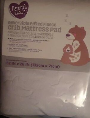 NEW Parent's Choice Baby Infant Fitted White Fleece Crib Mattress Pad Waterproof