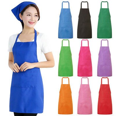 Plain Halter Neck Apron Waiter Baker Chefs Full Bib Apron Kitchen Pocket Uk Gg