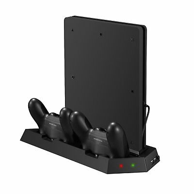 Vertical Stand Cooling Fan and Dual Charger For Sony PlayStation 4 PS4 Slim only
