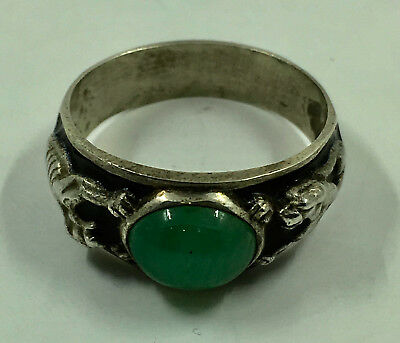 Russian Solid silver ring with emerald cabochon