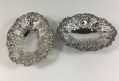 Antique Pair Of Solid Silver Bon Bon Dishes 1892 William Hutton & Sons