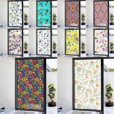 Flower Static Cling Stained Window Film Sticker Glass Door Privacy Decor