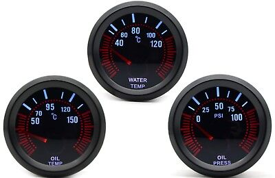 52mm AGG-1 Smoked Water Temperature + Oil Temp + Oil Pressure 3 Gauge Kit