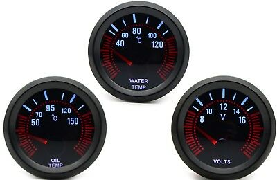 52mm AGG-1 Smoked Water Temperature + Oil Temp + Volt Voltage 3 Gauge Kit