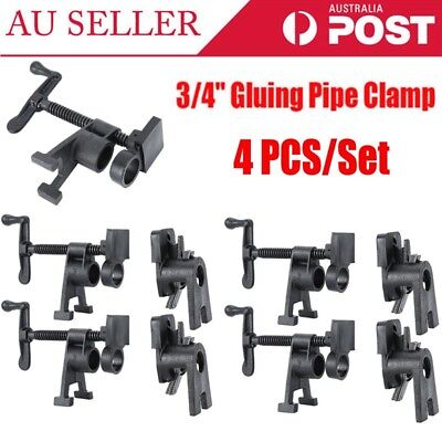 "4 Pcs/Set Heavy Duty 3/4"" H Style Gluing Pipe Clamp Woodworking Tools Kit Black"
