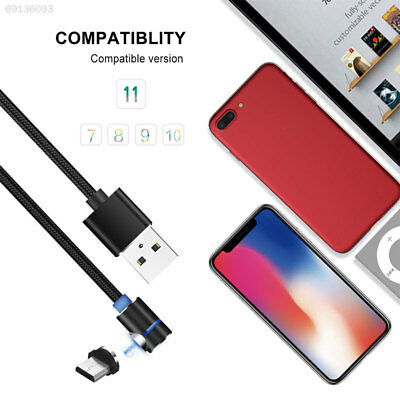 Braided Quick Charge Cable Micro USB/Type-C L-shaped Magnetic Connector Round