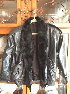 Mario Zarrelli Leather Jacket With Rabbit Fur Collar, And 100% Satin Lining