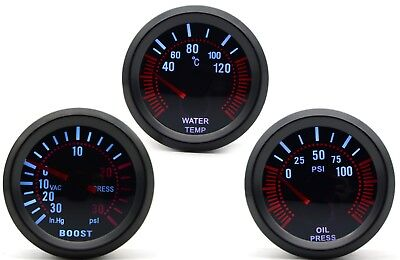 52mm AGG-1 Smoked Turbo Boost 30 psi + Water Temp + Oil Pressure 3 Gauge Kit