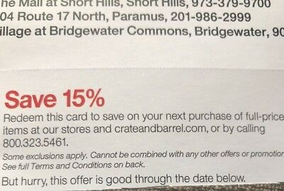 CRATE & AND BARREL COUPON 15% OFF FULL PRICED ITEMS Exp  11