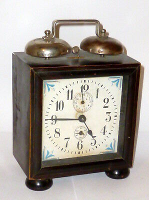 Old Art Nouveau Travel Alarm Clock Watch Table Wood