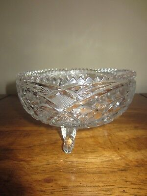 Vintage Antique Heavy Clear LEAD CRYSTAL CUT GLASS Footed Bowl Elegant Ornate