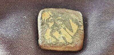 Extremely VR Roman coin weight AE4 inlayed soldier Please read description L120b
