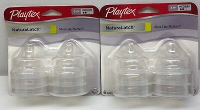 Playtex Naturalatch Silicone Baby Bottle Nipples 3+ Months Medium Flow (12 Total