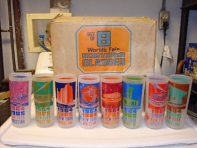 1964-1965 New York World's Fair Souvenir Glasses (set of 8) MINT IN BOX (RARE)