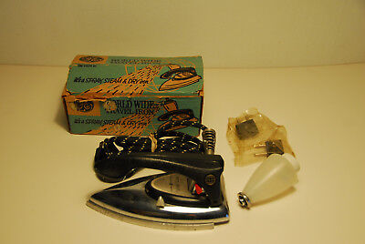 Vintage 1950's GE World Wide Travel Iron with Original Box F49 General Electric