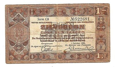 1 Oct 1938 Netherlands Zilverbon One Gulden--No Pinholes or Tears !!