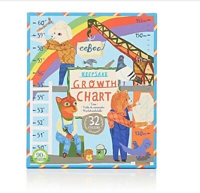 eeBoo Construction Site Growth Chart, 32 Stickers New in keepsake box