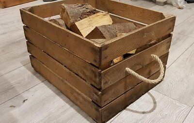 LOG BASKET / FIRE WOOD STORAGE  / FIREPLACE KINDLING BOX  Old Wooden Apple Crate