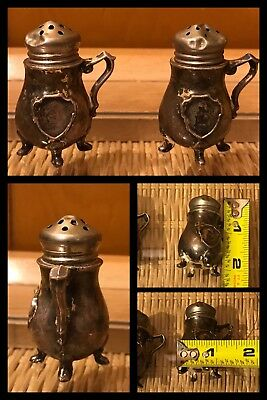 """SMALL SALT PEPPER SHAKERS Tiny Mini Feet & Handles STERLING SILVER ANTIQUE 2"""""""