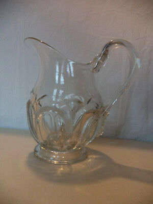 Antique Victorian Vintage EAPG Pressed Pattern Glass Arch Pitcher Applied Handle