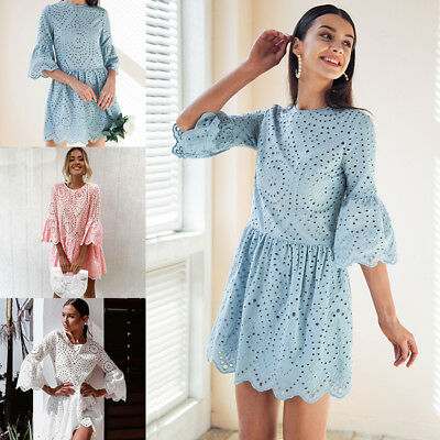 Women Summer Lace Embroidery Button Ruffle Sleeve Causal Hollow Out Short Dress