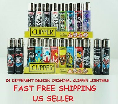 16 Full Size Assorted Color Mix Design Refillable CLIPPER Lighters LIGHTER Spain