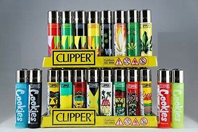 12 Full Size Assorted Color Mix Design Refillable CLIPPER Lighters Lighter Spain