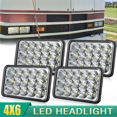 "4pcs 4X6"" LED Headlights Hi/Lo Light Crystal Sealed Beam Headlamp For k5 blazer"